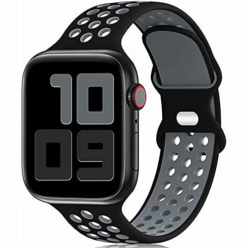 Fengyiyuda Reemplazo Deportivo de Silicona Compatible con Correa Apple Watch Pulsera 38 mm 40 mm 42 mm 44 mm, Pulsera Suave y Transpirable para iWatch Series 6/5/4/3/2/1 / SE Black&Gray-42/44-S