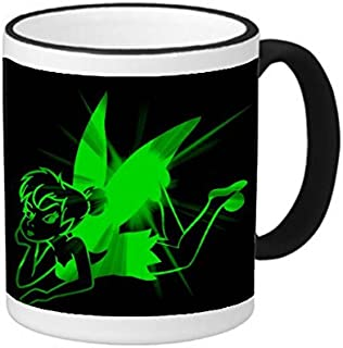 Cute Green Tinkerbell Fairy Pixie Art Design Print Image 11 ounce Black Rim/Handle Ringer Ceramic Coffee Mug Tea Cup by Trendy Accessories