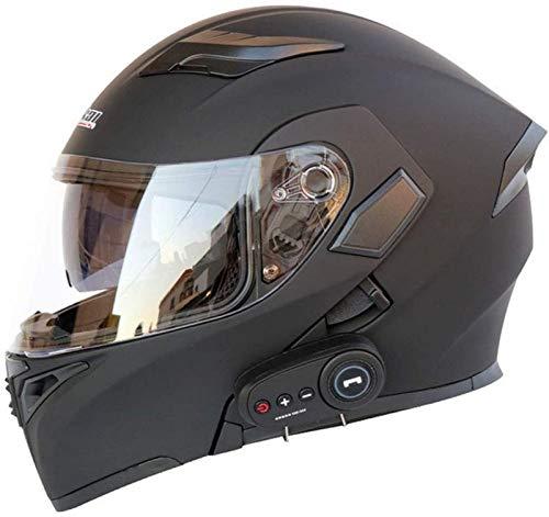 QDY Casco de Casco Completo Motocicleta Bluetooth Modular Parasol Abierto Casco antiniebla Auriculares Integrados Micrófono Respuesta automática, C, XXL