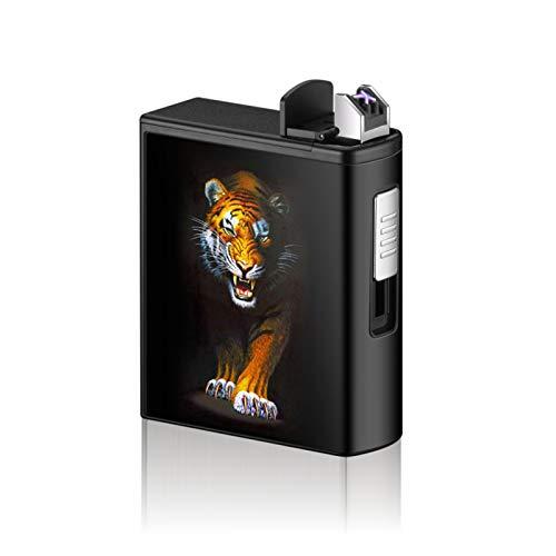HEKQ Caja De Cigarrillos con Encendedor Eléctrico Recargable USB para Cigarrillos De Paquete Completo 20 Piezas, Estuche De Cigarrillos Impermeable para Acampar Al Aire Libre, Senderismo,C