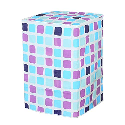 VOSAREA Schutzbezug für Waschmaschine, Oberlader, Waschmaschine, Trockner, wasserdicht (Karomuster, Blau und Violett)