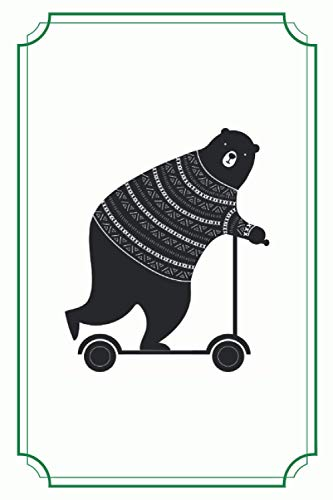 BEARY COOL! Funny password book with alphabetical tabs: Address book for email and passwords. Personalized account numbers and password book. Funny cover design (a bear rides a scooter).