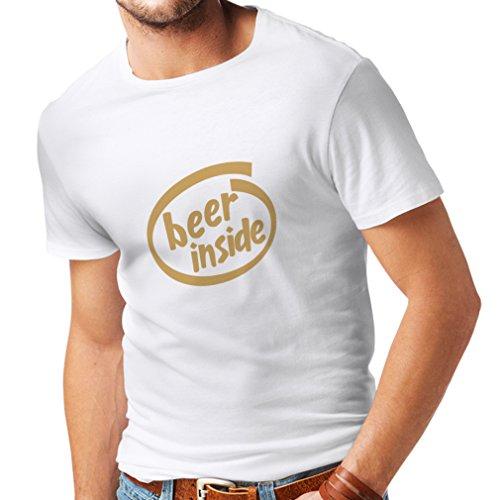 Camisetas Hombre Beer Inside - para Amantes de la Cerveza, Logotipo Divertido, Regalo humorístico, Pub, Bar, Ropa de Fiesta (XX-Large Blanco Oro)