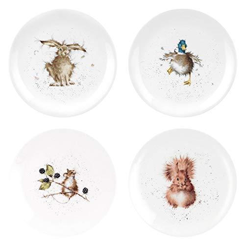 Portmeirion Home & Gifts WN5658-XB Coupé-Teller, 20,3 cm, verschiedene Designs, Keramik, 4 Stück