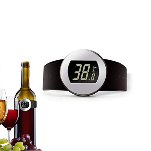 Hihey Weinthermometer analog,Clip-Weinthermometer Flaschenthermometer,Cromargan Edelstahl,für Rotwein Weißwein Rosé Sekt Champagner.Wein Temperatur Armband Thermometer