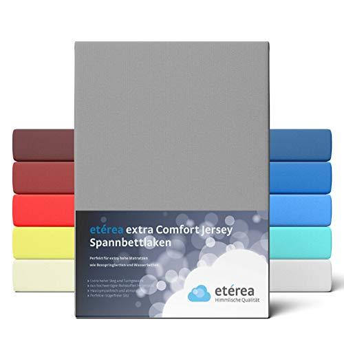 etérea Premium Jersey Spannbettlaken 90x200 bis 100x200 cm - dichtes Spannbetttuch für Wasserbetten und Normale Matratzen aus 100% Baumwolle und ca. 25 cm Steghöhe, Grau