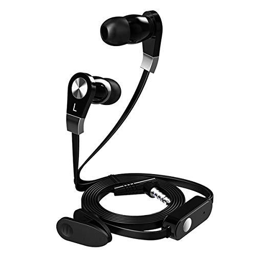 HaiQianXin Stereo Oortelefoon Super Bass Sport Hoofdtelefoon Flate Wire met microfoon Gaming Headset voor Mobiele Telefoon (Kleur : Zwart)