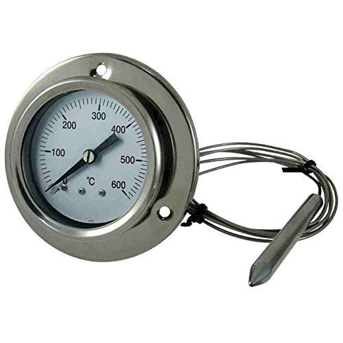 Giemme Spoleto Thermomètre à Four INOX 600 °C avec Sonde Flexible et Fixation à Vis