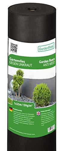 GardenMate 1m x 25m Rouleau Toile Anti-Mauvaises Herbes en Non tissé 150g/m2