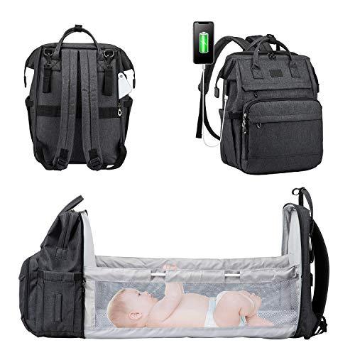 LOVEVOOK Wickelrucksack Rucksack Wickeltasche Groß Baby Tasche für Mama Mommy Bag Diaper Bag Babytaschen mit bett Multifunktional Wickeltaschen Große Kapazität Babyrucksack Wasserdicht, Schwarz