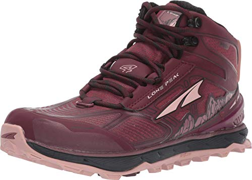 ALTRA Women's ALW1855N Lone Peak 4 Mid RSM Trail Running Shoe, Dark Port/Light Rose - 5.5 M US