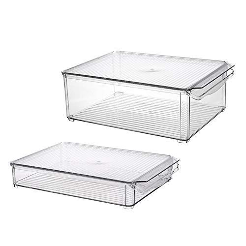ACAMPTAR Caja Almacenamiento para Refrigerador Bote de Basura Caja de Almacenamiento para Refrigerador Apilable, Estante de PláStico Transparente para Almacenamiento de Alimentos Ancho