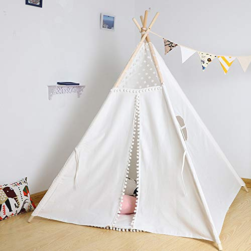 Youyijia Cotton Canvas Kids Teepee Tent 145*120*120Cm Ventilate Play House For Girls Boys Indoor And Outdoor