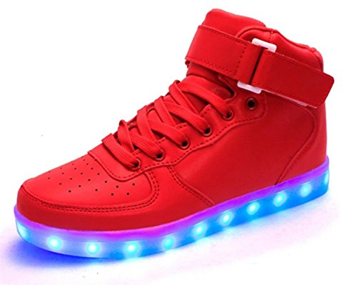 KALEIDO Unisex High Top USB Charging 7 Colors LED Shoes Flashing Sneakers (8.5 B(M) US Women/6 D(M) US Men, Red)