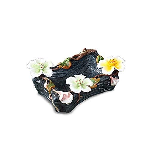 ZBM-ZBM keramisch asbak, retro email sturen bloem rook schotel woonkamer kamer kantoordecoratie ornamenten (Maat: 23 * 13 * 6 cm)