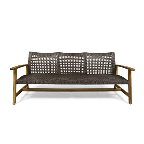 Great Deal Furniture Marcia Outdoor Wood and Wicker Sofa, Natural Finish with Mix Mocha Wicker