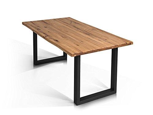 moebel-eins Tobago Baumkantentisch Esstisch Wildeiche Holztisch Massivholztisch Esszimmertisch Tisch Baumkante Metallfuß schwarz lackiert 160 x 90 cm, 160 x 90 cm