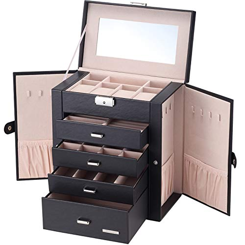 Homde Synthetic Leather Huge Jewelry Box Mirrored Watch Organizer Necklace Ring Earring Storage Lockable Gift Case (Black)