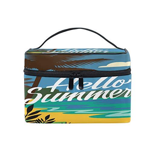 iRoad - Bolsa de maquillaje para mujer, diseño de palmeras de verano, bolsa de cosméticos, bolsa de viaje