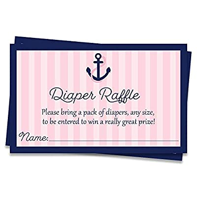 Anchors Away Diaper Raffle Tickets, Baby Shower, Girl Baby Shower, Nautical, Stripes, Sea, Ocean, Anchors, Pink, Navy, Diaper Party, Baby Sprinkle, Raffle Tickets, 25 Pack Printed Diaper Inserts by The Invite Lady