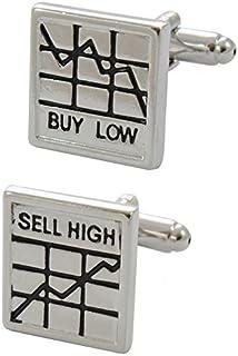 COLLAR AND CUFFS LONDON - Gemelli di Alta qualità e Scatola Regalo - Ottone - Buy Low, Sell High - Colori Argento e Nero -...