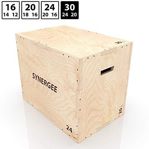 Synergee 3 in 1 Wood Plyometric Box for Jump Training and Conditioning. Wooden Plyo Box All in One Jump Trainer. Size - 30/24/20