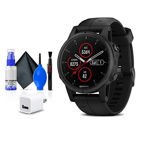 Garmin Fenix 5S Plus Sapphire Edition Multi-Sport Training GPS Watch (010-01987-02) + USB Power Cube + Cleaning Set
