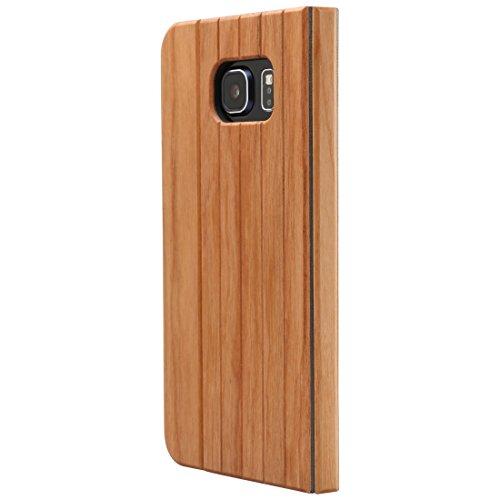 Ultratec Schutzhülle für Samsung Galaxy S6, klappbares Flip Case, Naturholz-Hülle