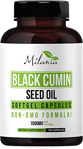 Black Seed Oil Capsules 120 Softgels - Natural Organic Cumin...