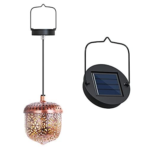 Lanterna Solare, Appendere Metallo Luci Giardino per Esterno, Luce Solare Impermeabile, per Patio, Terra, Prato, Feste, Halloween, Natale