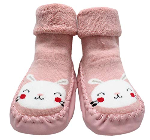 Baby Boys Girls Winter Slipper Socks Anti-slip Animal 6-24 Months (9-18 Months, Pink Happy Bunny)