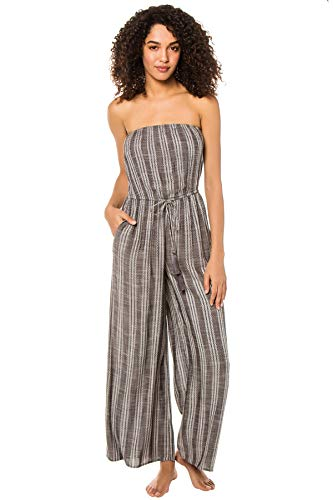 Elan International Women's Striped Strapless Jumpsuit Swim Cover Up Grey L