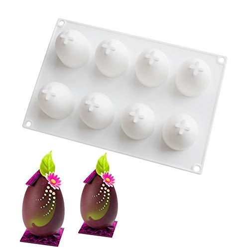 xiaoshenlu backform silikon 3D, Mousse-Kuchenform Silikon Backform DIY Mold, 8 Löcher Ostern Ei, Weiß