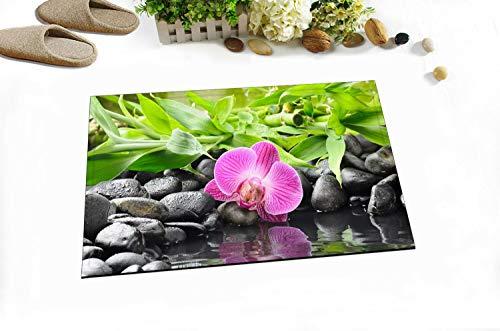 AdaCrazy Orchidee Stein Hintergrundmuster Flanell Indoor Bodenmatte Badeteppiche verhindern das Verrutschen und Schleudern super saugfähigen 3D-Druck 60x40cm