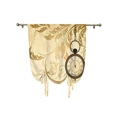 Paneles de cortina con diseño vintage de fondo grungy con cadena de relojes románticos, con aislamiento térmico, 137 x 150 cm, para ventana de baño, color marrón