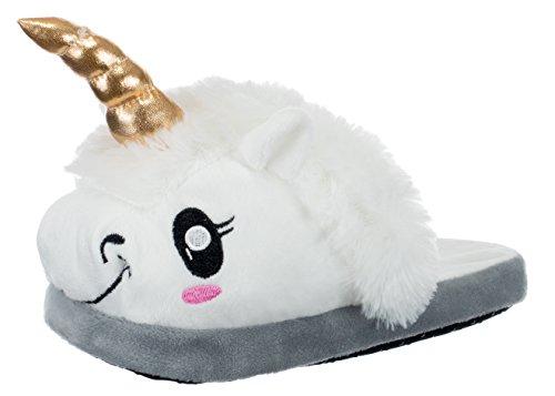 Brandsseller Damen Plüsch Pantoffel Hausschuh Schluppen - Einhorn Unicorn - Farbe: Weiß - Größe: 40/41