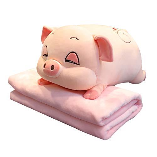 Diaod Juguetes de Peluche para Dormir Cerdo Animal Cruce de Peluche Pillow Plus Manta Edredón Aire Acondicionado Almohada Juguetes de bebé (Size : Doll 90 cm+Blanket 1 * 1.7 Meters)