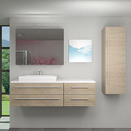 Badmöbel Set City 210 V3 Eiche hell, Badezimmermöbel, Waschtisch 160cm, Beleuchtung Spiegelschrank:1 x 5W LED + 1x Energiebox +45.-EUR