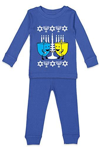 Haase Unlimited Happy Dreidels - Ugly Hanukkah Youth Pajama Set (Royal Blue Top/Royal Blue Bottoms, Youth 10)