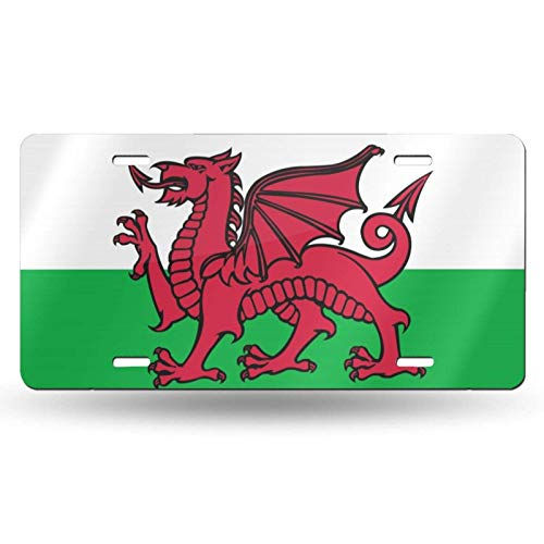 MISS-YAN License Plate Aluminum, Flag of Wales Car Tag Cover Decorative License Plates for Front of Car Durable Metal Car Plate for Women/Girls/Men/Boys Vanity Gifts, 6 X 12 in