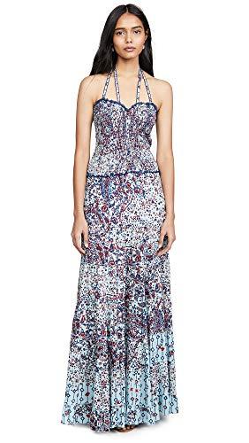 Poupette St Barth Women's Foe Panelled Long Dress, Light Blue Paisley, Medium