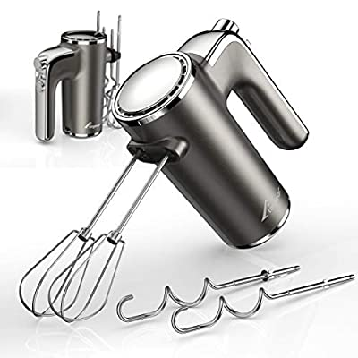 Elegear Lightweight Electric Hand Mixer, 2021 New Upgraded 5-Speed Handheld Mixer with 4 Stainless Steel Attachments (2 Beaters & 2 Dough Hooks) - Kitchen Electric Mixer for Making Cakes & Dessert