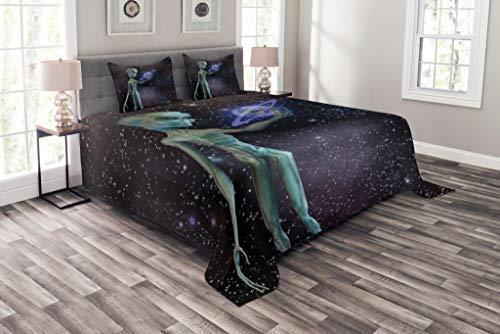 Lunarable Weltraum-Tagesdecke, Alien Body Planet in Milchstraße, Sternhahnen, Außerirdisches Kreaturbild, Dekoratives Gestepptes 3-teiliges Bettbezug-Set mit 2 Kissenbezügen, Queen Size, Dunkelviolett