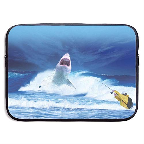 Shark Sea Ocean Blue Predator Fishing Fisherman 15 Inch Laptop Sleeve Bag Portable Dual Zipper Case Cover Pouch Holder Pocket Tablet Bag,Water Resistant,Black