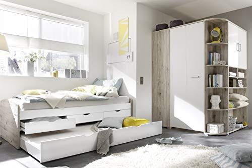Jugendzimmer Nessi in Sandeiche und Weiß 2 teilig mit begehbarem Eckschrank und Funktionsbett mit Zwei Liegemöglichkeiten