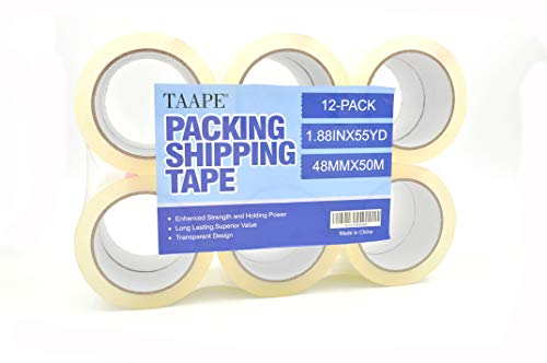 """TAAPE 12 Rolls Heavy Duty Packing Tape, 1.88 inch x 55 Yards, 2.7 Mil, 3"""" Core, Ultra Adhesive, Clear Shipping Tape, Industrial Grade Moving Packaging Tape, for Shipping, Moving, Packaging and Office"""