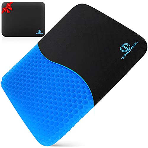 Gel Seat Cushion for Long Sitting - Backpain, Sciatica, Sores and Pressure Relief Non Slip Pad for Office Chair, Wheelchair, Car, Driving - Back or Hip Pain Egg Crate Cushions - Sitter Support Pillow