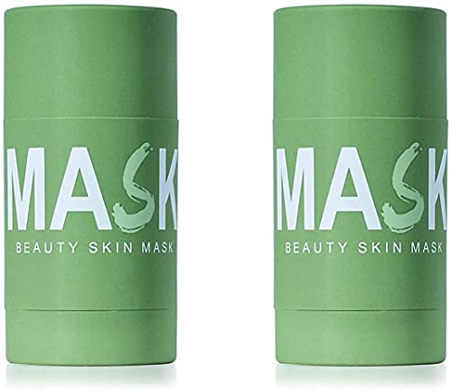 DSFKS Green Tea Purifying Clay Stick Mask,Green Tea Cleansing Solid Mask,Face Moisturizes Oil Control,Deep Clean Pore,Improves Skin,Suitable for All Skin Types (2PCS)