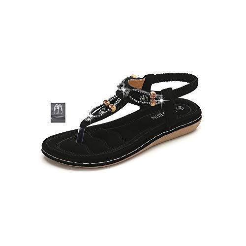 Chickwin Sandalias Mujer Verano, Bohemias Cómodos Zapatos Las Sandalias Planas Tacon Elástica Rhinestone Tobillo Correa Slingback Zapatos Playa Baño Fiesta Chanclas (EU37=235mm/9.25?,Negro)