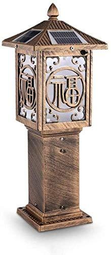 Accesorios de construcción Lámpara de mesa de pie LED solar Lámpara de pie de jardín Césped decorativo Terraza Linterna de poste solar Bronce antiguo Aluminio Fundición a presión Lámpara de columna